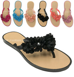 NEW Women's Flower Petal Decorated Flat Flip Flop Jelly Thong Sandals 5 to 10