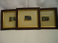 3 FRAMED PAINTINGS  ON ITALIAN SILVER PLATE