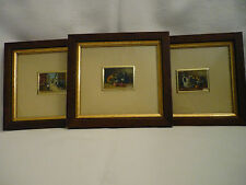 3 FRAMED PAINTINGS  ON ITALIAN SILVER PLATE - GIFT IDEA!