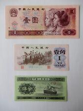 3 China Banknotes: 1 Yi Yuan 1980, 1 Yi Jiao 1962, 5 Fen 1953