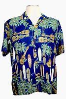Diamond Head Sportswear Men's L, Blue & Green Hawaiian shirt Surfboards Ukuleles