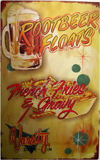 Rootbeer Float and French Fries Restaurant Diner Food Rustic/Vintage Metal Sign