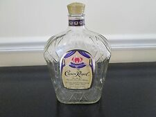 Lot of 3 Empty 1 Liter Glass Crown Royal Whiskey Bottles With Caps and Boxes