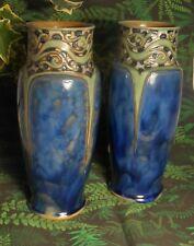 More details for pair of large blue glazed royal doulton art nouveau vases