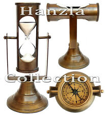 "8"" Brass Hanging Sand Timer Antique Compass Top Hour Glass 3 Minutes Sand Clock"