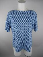 Charter Club Women sz XL Blue Pima Cotton Luxury Printed Boat Neck T-Shirt Top