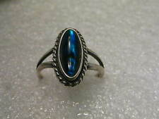 Vintage Sterling Silver Southwestern Blue Foiled Abalone-like Ring, size 9.5