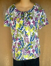 Westbound White Purple Blue Green Flower Leaf 100% Cotton Shirt Top XL