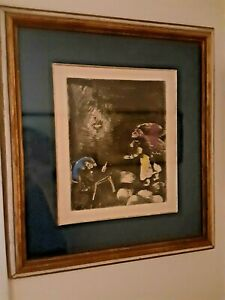 Marc Chagall The Drunkard and His Wife Original hand colored etching 1952 #83/85