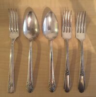 Large Lot Of Antique Silverplate Silverware Forks Spoon Rodgers, Crown, Nobility
