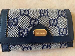 Vintage Gucci Signature Blue Stripe 6 key Holder Snap Pouch EUC UNISEX