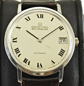 Vintage Universal Geneve White Shadow Date Micro Rotor Automatic Men watch