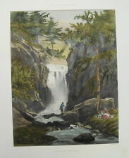Wasserfall Geroldsau Baden-Baden echte alte altkolorierte Lithographie 1840