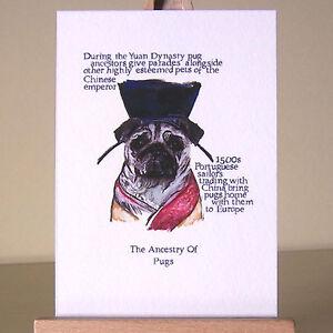 drawing of Pug History ACEO art card pugs cartoon notable milestones