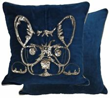 """2 X Sequin Beaded French Bulldog Teal Cotton 20"""" Cushion Covers"""