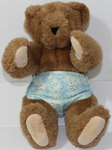 Vermont Teddy Bear HONEY BROWN JOINTED BEAR w/ DIAPER Stuffed Animal PLUSH TOY