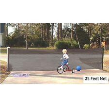 Kid Kusion Retractable Driveway Guard 25 feet Safety Net In Black, 4735 New