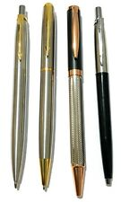 4 x Metallic design, Parker Style stainless steel ballpoint pens -Black/blue ink