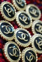 12 Stamped Chanel buttons lot of  12   cc logo 20 mm 0,8 inch  ❤black & gold