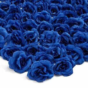 50pc Artificial Fake Dark Blue Rose Flower Head for Wedding Bouquet Home Decor