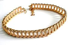 Signed Christian Dior Necklace Gold-Plated Crystal Set Choker 92 gr  New (D)