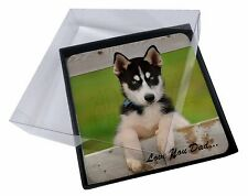 4x Husky Pup 'Love You Dad' Picture Table Coasters Set in Gift Box, DAD-56C