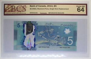 Canada - 2013 - $ 5 - BC-69bA (P-106b)  - Macklem-Poloz - Single Replacement