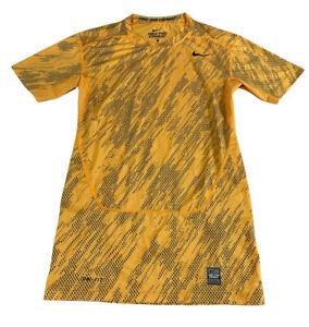 Nike Pro Combat Dri Fit Compression Yellow Printed T-Shirt Slim Fit Men's Large