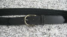NEW Black Woven Material and Black Leather Women's Belt- Size 10 #LV384