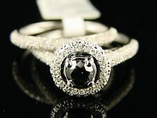 14K LADES BRIDAL ENGAGEMENT BLACK DIAMOND SOLITARE RING