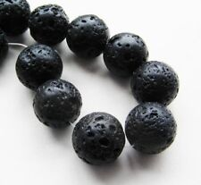 Lava Perlen Kugel schwarz 18mm 5 Stück SERAJOSY