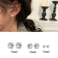 Fashion Womens Men 925 Sterling Silver Stud Earrings Sparkly Stones Ball Bead