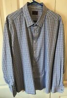 UNTUCKit Mens Long Sleeve Button-Down Shirt blue white check Size 3XL XXX-Large