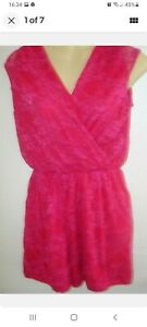 Pretty New Pulse Raspberry Red Lace Wrap Sleeveless Playsuit Shorts S/M 8 10 UK