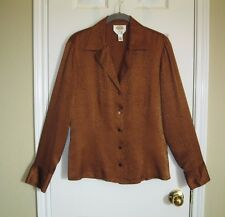 TALBOTS Brown Snake Skin Embossed SILK Button-down Blouse ~ SZ 10 or Med