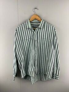Marc Daniels Mens Green Grey Striped Vintage Long Sleeve Button Up Shirt Size L