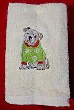 Bulldog Embroidered Christmas Hand Towels Set of 2