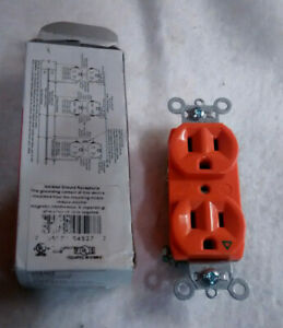 Legrand IG5262 Orange Isolated Ground outlet Duplex Receptacle 15A 125V