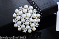 Neu Anstecknadel Brosche Strass Perle Blume Hochzeit Silberfarbe 4.9x4.8cm