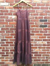 Fossil Bohemian Boho Burgundy Red Gray Sundress Maxi Dress XS * RARE!