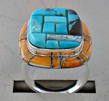FABULOUS NATURAL TURQUOISE SPINY SHELL COBBLE INLAY .925 SILVER RING SIZE 8-1/2