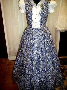 Civil War/Victorian Era Day Gown of Violet & Blue, Eyelet Lace, size 14