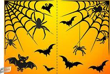Fête d'halloween fenêtre autocollants chauves-souris araignées web net réutilisable auto accrocher decor