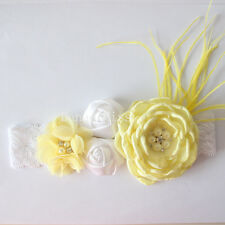 Satin Chiffon LEMON & WHITE Flowers Pearl Centres & Feather HEADBAND White Lace