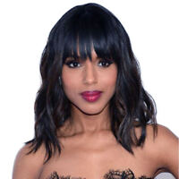 Women Short Black Wavy Synthetic Wigs Hair With Bangs Natural women's Full Wigs