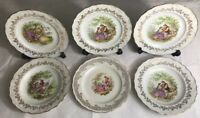 lot1 De 6 Assiettes Fragonard En Porcelaine Digoin France  D 23,5 Cm