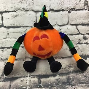 """Halloween Jack-O-Lantern Kürbis Vintage Plüsch IN Hexe Hut 5"""" Plüschtier"""