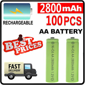 20~100PCS AA 2800mAh 1.2V Ni-Cd Rechargeable Batteries for LED RC Toy Home Phone