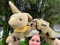 """Beautiful Vintage Walmart Bunny Rabbit Laying 14"""" SOFT Plush Stuffed Animal Toy"""