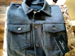 MARC ANTHONY Men's Charcoal Grey Luxury Shirt Jacket - Size Small
